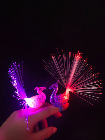 10Pcs /SetLED Ring Lights Concert Light Colorful Peacock