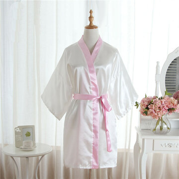 Pure Color Soft Kimono Design Bathrobes