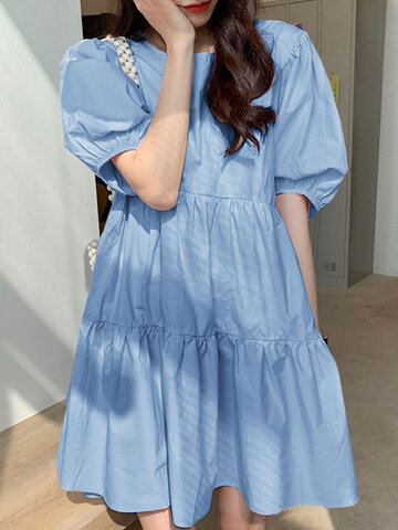 Solid Color Puff Sleeve Dress