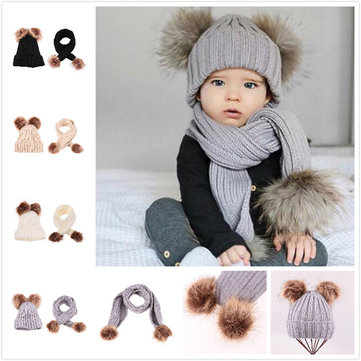 Kid's Beanie Hat + Scarf Set For 1-10 Years