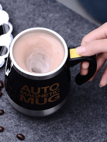 Auto Sterring Coffee Mug Stainless Steel Magnetic Mug Cover Milk Mixing Mugs Electric Lazy Smart Coffee Mugs