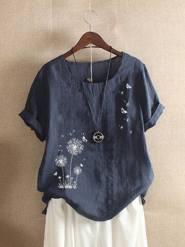 蝶フラワープリントTシャツ