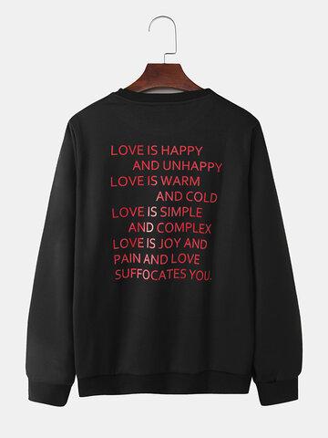 Slogan Back Print Solid ColorSweatshirt