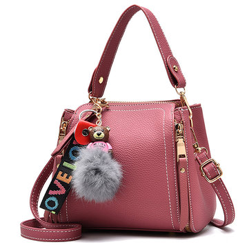 Women Bear Pendant Crossbody Bag PU Leather Shoulder Bag