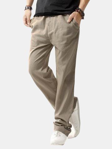Uomo Pantaloni Casual in Cotone Lino Respiabile con Corda Fit Regolare in Colore a Tinta Unita