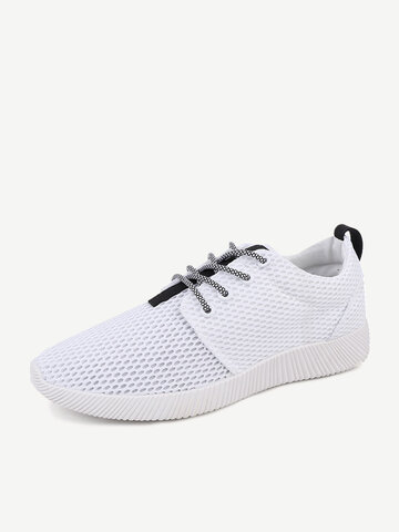 Men Mesh Fabric Light Weight Running Shoes Lace Up Casual Sneakers