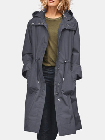 Gabardina informal con capucha y cintura elástica
