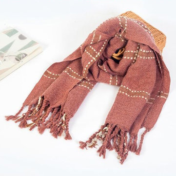 Women Thick Warm Plaid Tassel Blanket Cashmere Scarves