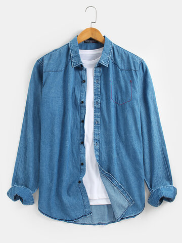 100% Cotton Lapel Collar Denim Shirts