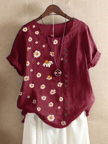 Daisy Button O-neck T-shirt