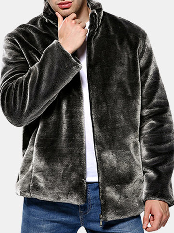 Mens Faux Fur Stand Collar Jacket