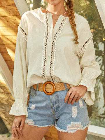 Bohemian Patch Button Blouse