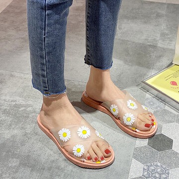 Transparent Cross Band Comfy Soft Sole Slippers