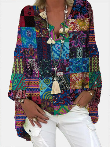 Vintage Print V-neck Loose Blouse