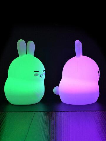 Luz de noche recargable de silicona de conejo