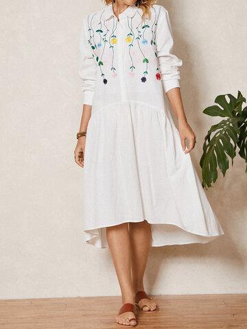 Vestido de lapela bordado floral com botões