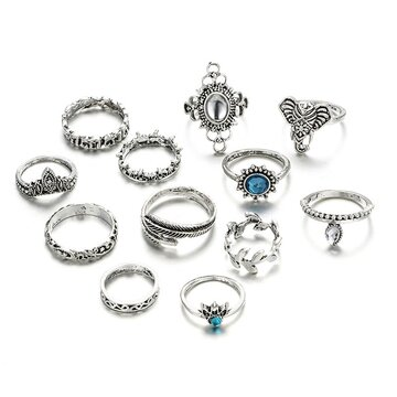 Vintage Drop Elephant Rings Set