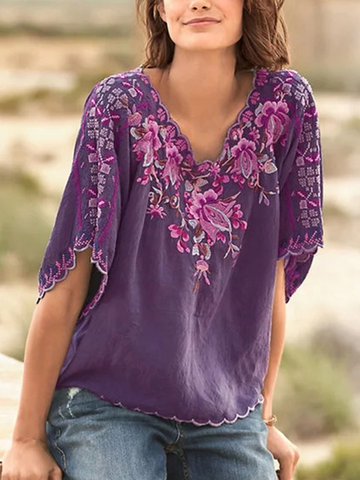 Floral Embroidery Vintage Blouse