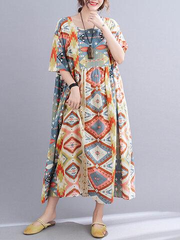 فستان فضفاض مطبوع هندسي