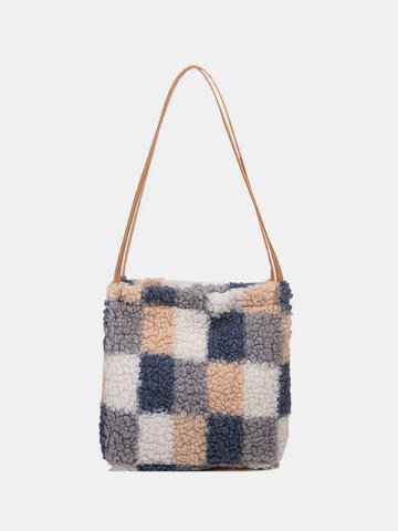 Plush Gingham Pattern Print Shoulder Bag Handbag
