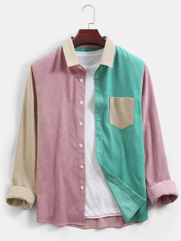 Corduroy Colorblock Patchwork Shirts