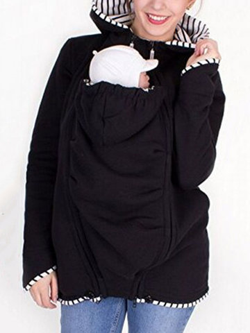 Hooded Coat For Mom And Baby Carrier
