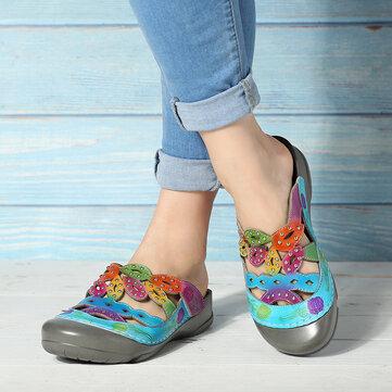 Sandálias de flores pintadas à mão de couro
