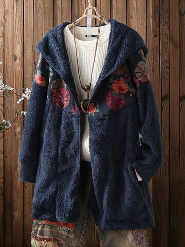 Floral Printed Vintage Hooded Coat