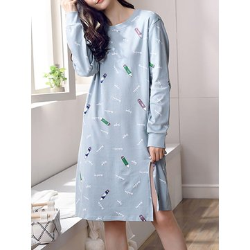 Long Sleeve Color Block Split Loose Night Dress, Blue