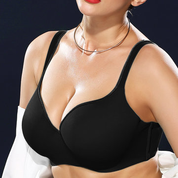 Gather Plunge Seamless Full Busted Push Up 34DD Bras, Blue nude black