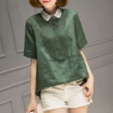 Cotton And Linen Short-sleeved Shirt New Loose Wild Shirt Shirt Large Size Women's Clothing
