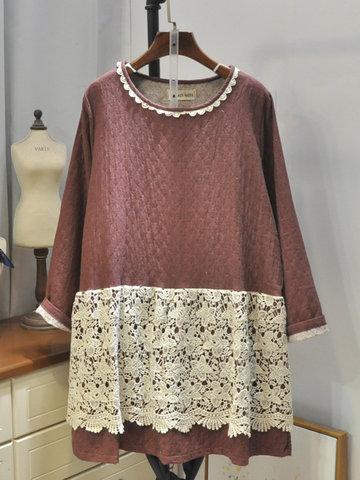 Lace Patchwork Vintage Blouses