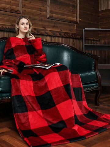Striped Pattern Fleece Hoodies Blanket With Sleeves Outdoor Warm Soft Hoodie Front Pocket Hedging TV Flannel Blanket