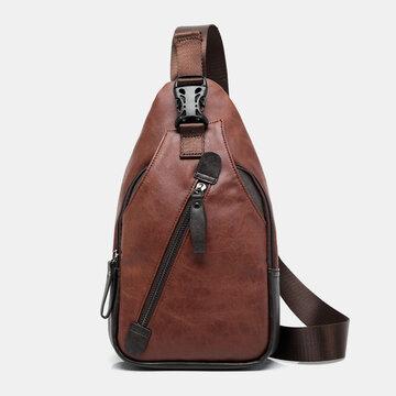 PU Leather Multi-pocket Waterproof Casual Crossbody Bag Chest Bag Sling Bag