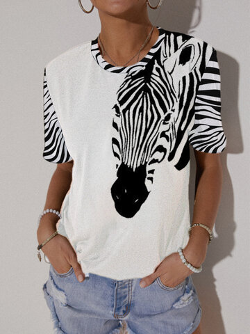 Cartoon Animal Print T-Shirt