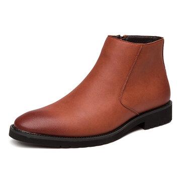 Botas de couro casual antiderrapante para homem