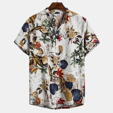 Mens Plants Printing Henry Shirt