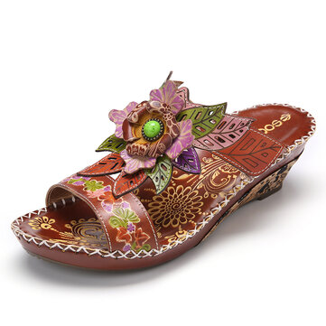 Bohemia Leather Floral Beaded Embossing Adjustable Strap Stitching Low Heel Wedge Sandals