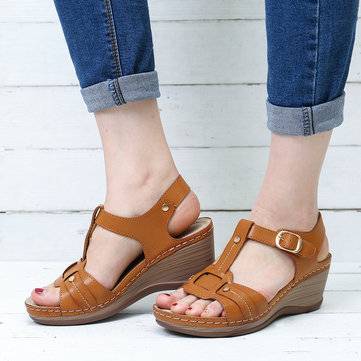 Buckle Wedge Heel Gladiator Sandals