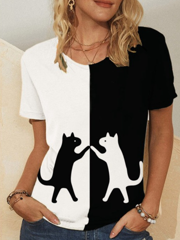 Cat Print Patchwork T-shirt
