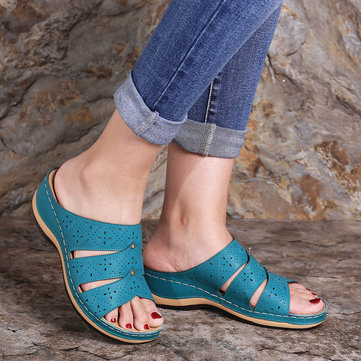 Solid Color Comfortable Chic Wedges Sandals
