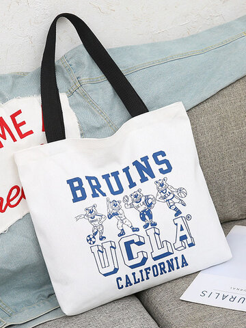 Canvas Blue Letter Pattern Tote