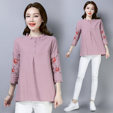 Large Size Casual Cotton And Linen Embroidery
