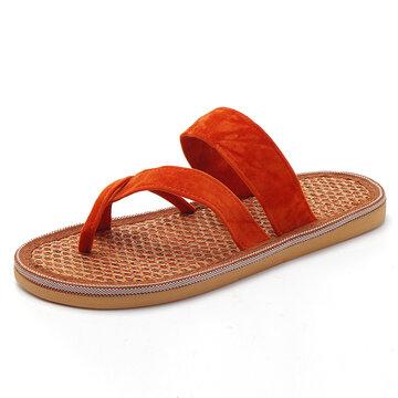 Infradito in fibra di palma arancione