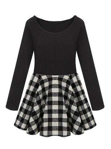 Casual Plaid Patchwork Pleated Long Sleeve O Neck Dress фото
