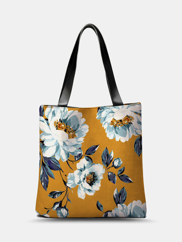 PU Leather Floral Blue Leaf Tote