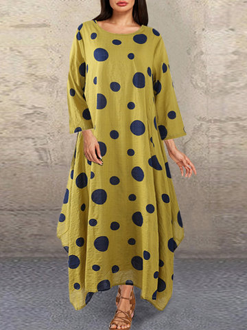 Polka Dot Print Irregular Maxi Dress