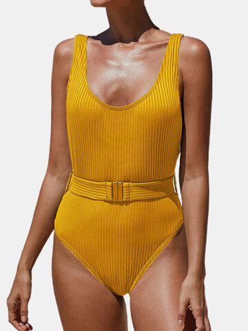 Rib Belted One Piece