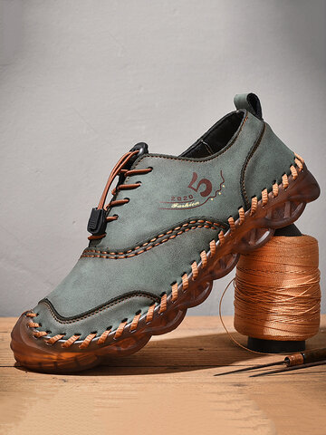 Men Soft Microfiber Leather Hand Stitching Casual Shoes