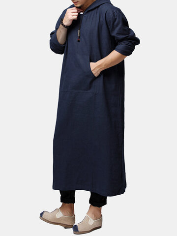 Men's Cotton Linen Baggy Long Kaftan Robed T-shirt